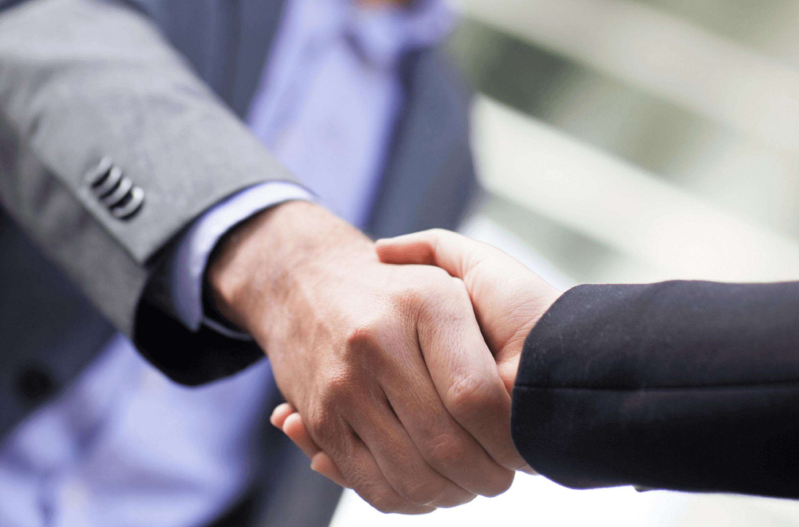 Two business men handshake