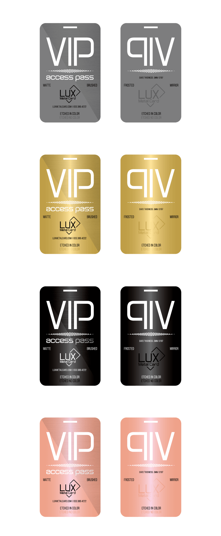 LUX Sample VIP Cards Graphic